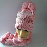 Детская вязаная шапка+шарф  для девочки на флисе 7-10 лет оптом