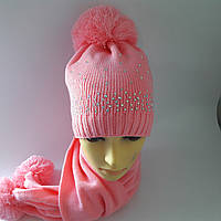 Детска шапка + шарф для девочки зима 7-11 лет оптом