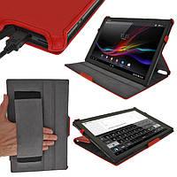 Красный конвертируемый чехол на Sony Xperia Tablet Z из синтетической кожи.