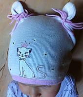 Хлопковая одинарная шапочка с ушками