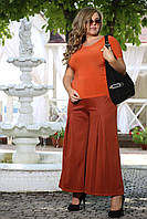 Женские брюки клеш Эстель терракот французский трикотаж большого размера 48-94 батал