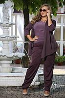 Модные женские брюки Кураж слива французский трикотаж большого размера 48-94 батал