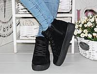 Теплые кроссовки, высокие слипоны спортивные ботинки черные эко замш 39 размер