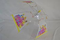 Прозрачный детский зонт трость для девочек и мальчиков, с красочными рисунками.