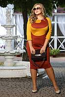 Классическое трикотажное платье Гиацинт терракот осеннее французский трикотаж большого размера 48-94 батал