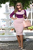 Классическое трикотажное платье Гиацинт пудра осеннее французский трикотаж большого размера 48-94 батал