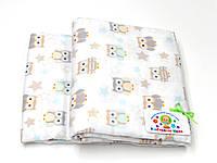 Детский байковый (фланель) постельный комплект (белый с совами)