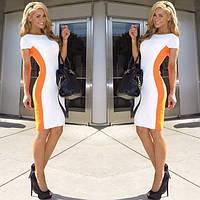 Короткое двухцветное платье с коротким рукавом