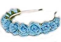 Голубой обруч с цветами