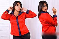 Стильная шёлковая блузка - рубашка в больших размерах в расцветках (ХЗ-341)