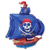 Гелиевый фольгированный шар Пиратский корабль синий. Гелиевые шары Киев.