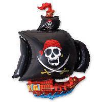 Фольгированный шар Пиратский корабль черный