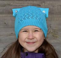 Детская шапка с ушками кошки , фото 1