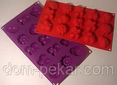 Планшет силикон печенье Насекомые Цветочки 15 шт