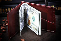 Зажим для денег, тонкий , Кожа !!!