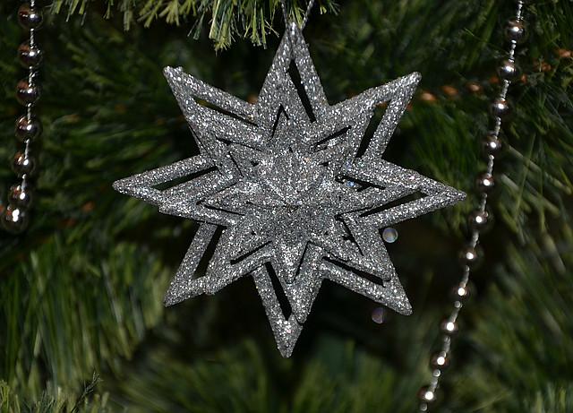 Новогоднее украшение Звезда объемная серебро 0338