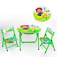 Зеленый складной столик с двумя стульями для детей