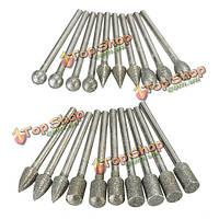 20шт 3мм хвостовиком алмазные шлифовальные заусенцев сверла наборы для Dremel вращающихся инструментов