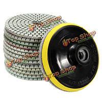 15шт 4-дюйма полировки колодки комплект 50-6000 крупнозернистых мокрой сухой полировки алмазов колодки с самоклеящейся диска