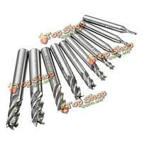 10шт 2-10мм 4 флейта фрезы HSS-аль конец твердосплавный инструмент фрезы мельница с ЧПУ