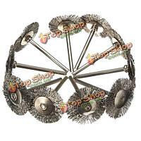 10шт 25мм стальной проволоки колеса щетка для умирает точильщик роторный инструмент