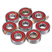 10шт красный запечатанный паза скейтборд шаровой подшипник 608 2rs с 8x22x7мм