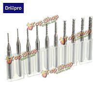 Drillpro 10шт 0.8-3мм Карбид печатных плат сверла гравировать фреза для станков с ЧПУ борфрез
