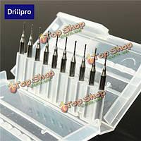 Drillpro 10шт 0.8мм вольфрама стальных помольных резцами 3.175мм концевые фрезы хвостовиком