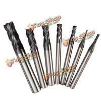 7шт 4 флейт вольфрама карбид фрезы концевая фреза комплект 1-8мм прямой конец хвостовика фрезы мельница с ЧПУ инструмент