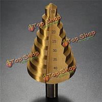 10-45мм золотой азотирования-HSS-SPIRA азотирования Groove ядро дыра режущей головки HSS спиральные канавками шаг сверло