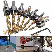 7шт 3-10мм 5 флейта HSS зенковки сверло комплект плотницкие расширитель деревообрабатывающего конца фаска фрезерные