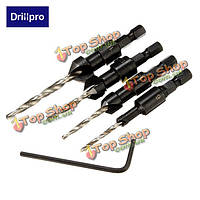 Drillpro 4шт плотницкие зенковки сверло комплект инструментов для деревообработки
