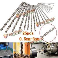 Биты, установленные 0.5mm-3.0mm прямой хвостовик Дрель 25pcs HSS микро поворот Печатная плата твист Drill биты