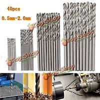 40шт 0.5/0.8/1.5/2мм HSS микро Спиральные сверла цилиндрическим хвостовиком сверла печатных плат