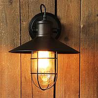 Настенно-потолочный светильник  купол с сеткой и стеклянной колбой [ Wall Light Industrial ]