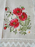 Скатерть с вышивкой красный мак 220х150