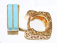 Серьги ХР позолота c бирюзовыми вставками , высота серьги 1,3 см ширина 5 мм.