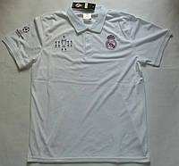 Футболка Реала тренировочная (поло) с пуговицами, белая (Лига Чемпионов), фото 1