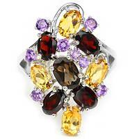 Кольцо с натуральными камнями мультиколор - АМЕТИСТАМИ,  ЦИТРИНАМИ, ГРАНАТАМИ и РАУХТОПАЗОМ