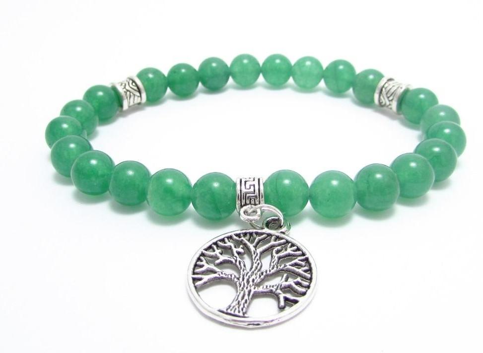 Браслет из натурального камня Нефрит зеленый