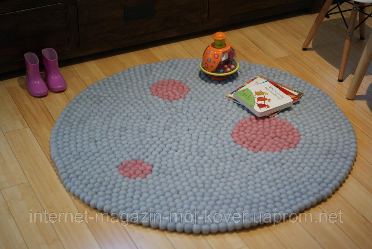Непальська двосторонній дизайнерський килим з натуральної 100% зваляної вовни в кульки діаметром 2 см