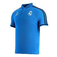 Футболка Реала тренировочная (поло), голубая, с пуговицами (Лига Чемпионов)
