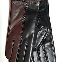Женские кожаные перчатки Prada черно-коричневые