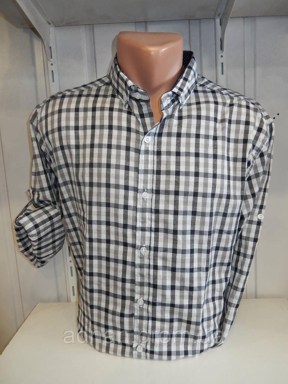 Рубашка мужская ALBERTO MALDINI  длинный-короткий рукав, средняя клетка, комб. 001\ купить рубашку