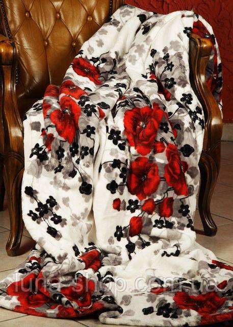 Плед из микрофибры Красные маки, 160*210, 200*220, Польша