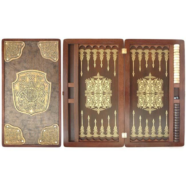 Нарды деревянные ручной работы инкрустированные кожей Герб