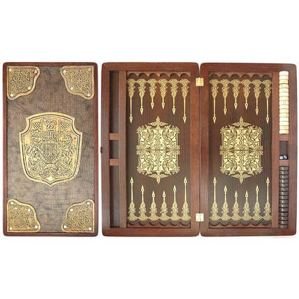 Нарды деревянные ручной работы инкрустированные кожей Герб, фото 2