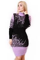 Вязаное платье большого размера Цветы р 48-58, фото 1