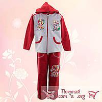Спортивный костюм с начёсом и капюшоном для девочек от 4 до 7 лет (4685-1)