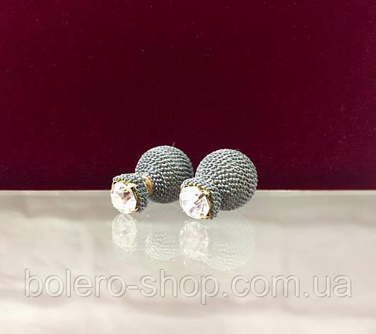 Серьги пусеты с камнями  женская итальянская бижутерия , фото 2
